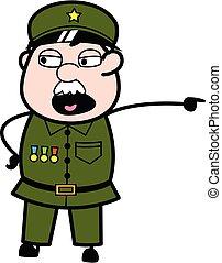 Pointing Military Man Cartoon Illustration