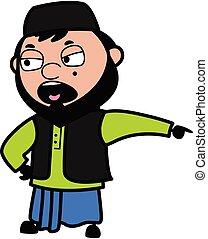 Pointing Muslim Man Cartoon Illustration