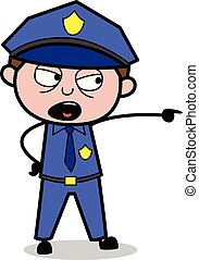 Pointing Out - Retro Cop Policeman Vector Illustration