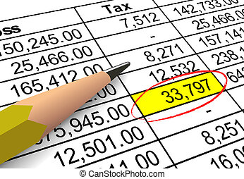 Pointing out tax deduction amount - Closeup of tax deduction...