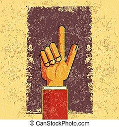 Pointing retro hand