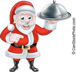 Pointing Santa Chef Holding Christmas Dinner - Cartoon Santa...