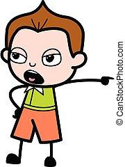 Pointing Schoolboy Cartoon Illustration