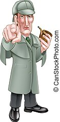 Pointing Sherlock Holmes Cartoon