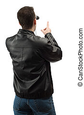 Pointing Spectator - A rear view of a spectator wearing a...