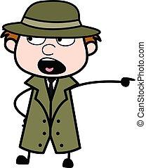 Pointing Spy Cartoon Illustration