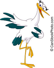 pointing stork