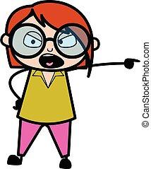 Pointing Teacher Cartoon Illustration