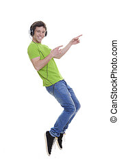 pointing teen with headphones