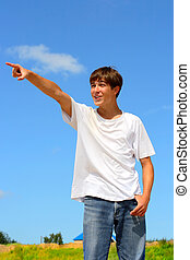 pointing teenager
