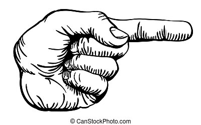pointing the finger - a black and white illustration of a ...