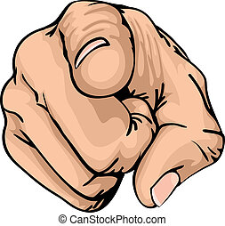 a colour illustration of a human hand with the finger pointing or gesturing towards you.
