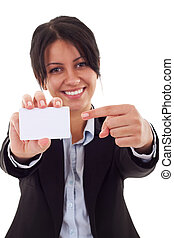 pointing to a card