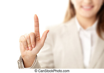 Pointing upwards - Photo of female hand with forefinger...