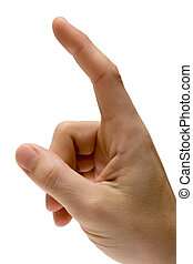 Forefinger pointing upward. Isolated on white. File contains clipping path.