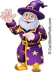 Pointing Wizard Cartoon Character