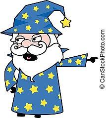 Pointing Wizard Cartoon Illustration