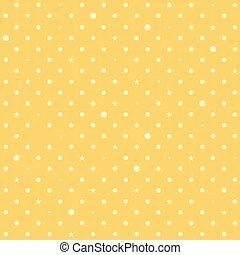 points, étoile, polka, fond jaune