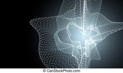 points, atoms., illustration., scientifique, science, monde médical, ou, molécule, fond, technologie, sombre, arrière-plan., connecté, médecine, molécules, modèle, chimie, lignes, 3d