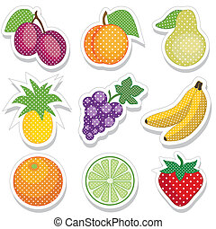 points, autocollants, fruit, polka