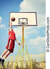 points, basket-ball, voler haut, joueur, action