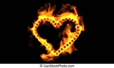 points, coeur, brûlé, formé