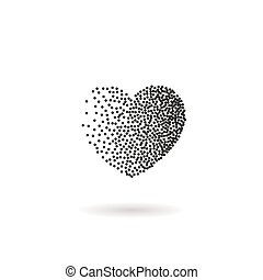 points, coeur, symbole, snow., forme, vecteur, noir, confetti