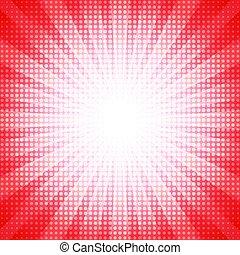 points, concept, concentration étoile, résumé, halftone, fond, blanc rouge