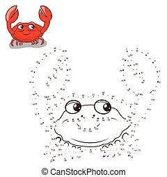 points, dessiner, jeu, vecteur, relier, crabe