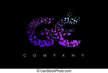 points, e, g, pourpre, particules, ge, lettre, logo, bulle