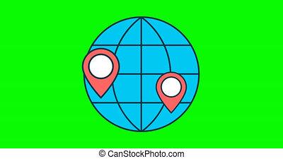points, emplacement, globe, apparaître