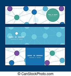 points, ensemble, modèle, vecteur, connecté, fond, bannières horizontales