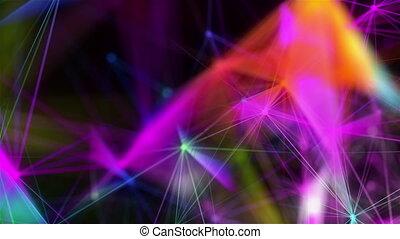 points, espace, résumé, lignes, polygonal, connecter, fond