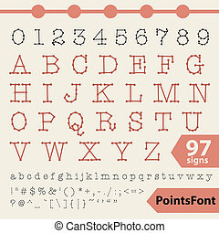 Points font 97 vector letters, numbers and signs. Vector...