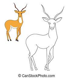 points, gazelle, illustration, jeu, vecteur, relier