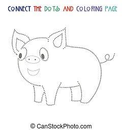points, illustration, cochon, jeu, vecteur, relier