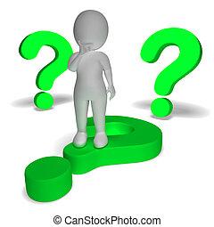 points interrogation, autour de, homme, projection, confusion, et, incertain