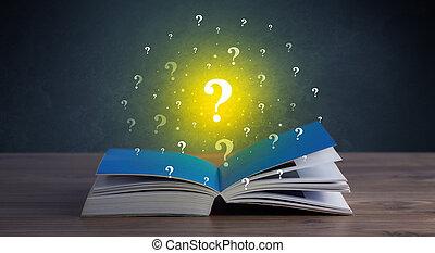 points interrogation, sur, livre