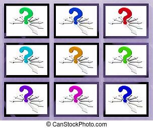 points interrogation, sur, moniteurs, projection, demandé, questions