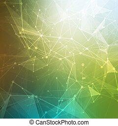 points, lines., futuriste, sombre, science, résumé, fond, ...