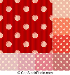 points, modèle, polka, seamless, rouges