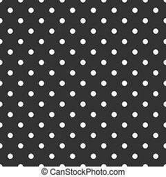 points, modèle, polka, sombre, vecteur, arrière-plan noir, carreau, blanc