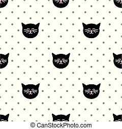 points, modèle, polka, vecteur, arrière-plan noir, carreau, chats, blanc