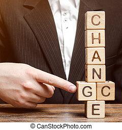 points, motivation, ou, concept., carrière, potentiel, bois, vous-même, accomplissement, encouragement, homme affaires, but, surmonter, blocs, development., mot, changement, chance., croissance personnelle