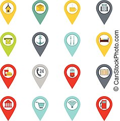 Points of interest icons set in flat style