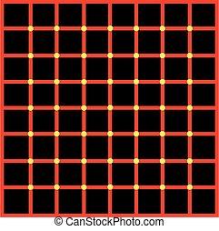 points, optique, jaune, illusion