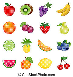 points, polka, fruits