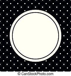points, porte-photo, polka, vecteur, arrière-plan noir, blanc