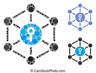 points, public, cercle, icône principale, composition