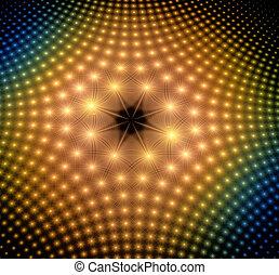 points, résumé, illustration, incandescent, fond, fractal